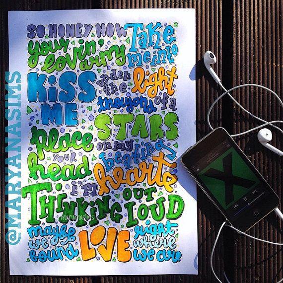 Thinking Out Loud By Ed Sheeran Lyric Drawing Maryanasims