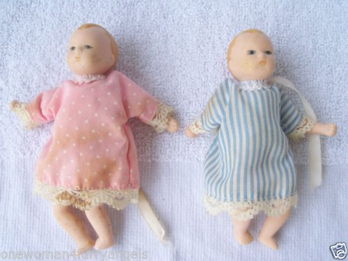 Russ Berrie and Co. Porcelain Small Baby Doll Boy Girl Pink Blue Gown