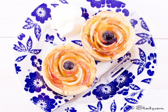 Rosey apple, custard & jam tarts from Stasty.  Made these for a baby shower dessert.  Big Hit and worth the extra effort.