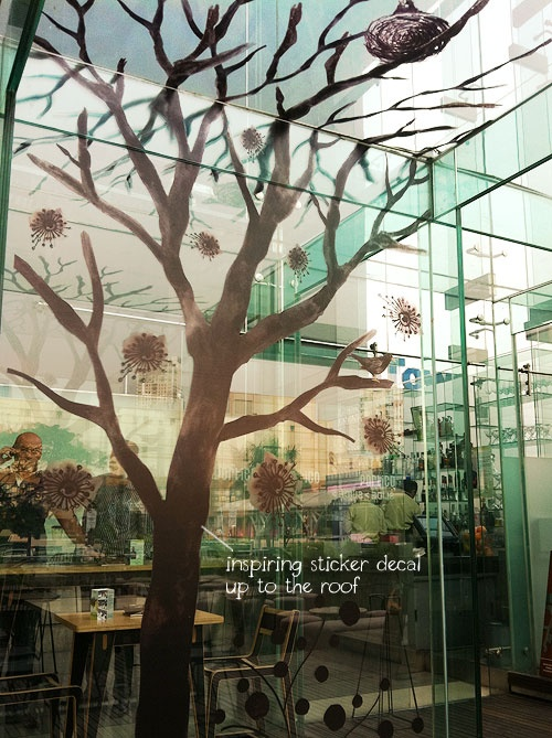 Beautiful glass architectural and decals at Portico Terrace Bistro