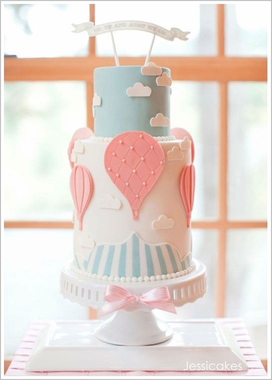 """""""Up, Up, and Away We Go!""""  click through to the blog to see the gorgeous invitations this cake was (superbly) modeled after and all the other super cute decorations. Great for baby shower!"""
