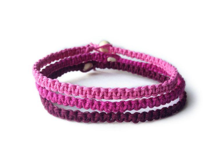 DORA: Pink, Dark Pink and Maroon Hemp Cord