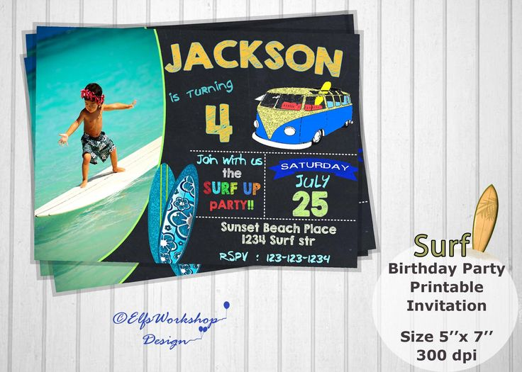 Surf invitation, Surfing invitation, Summer surf party, Beach party, Chalkboard surf invites, Beach surfing party, Printable - Personalized by ElfsWorkshopDesign on Etsy