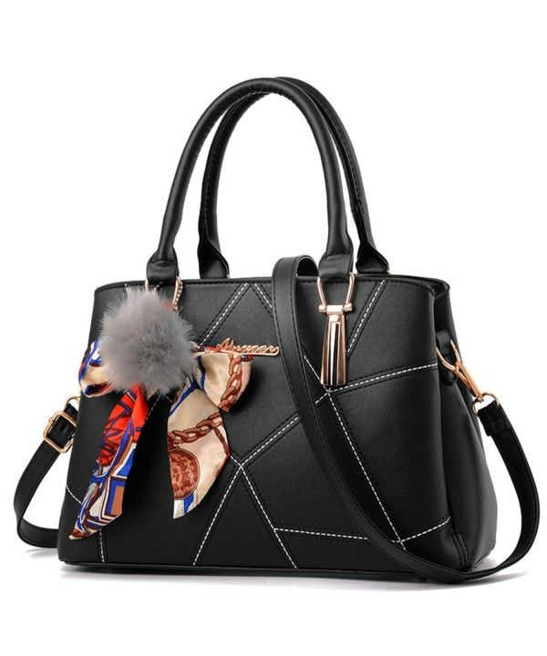 6b87a4846fd4b Women's Bags, Totes, Women Designer Top Handle Handbag Tote Crossbody Bag  Faux Leather Purse with Fur Ball Pom Pom - Black - CD186M0S05U #Women  #Fashion ...
