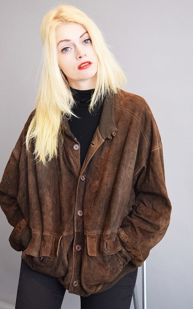 Cool vintage 80's retro brown genuine suede oversized bomber jacket top featuring striped lining inside.