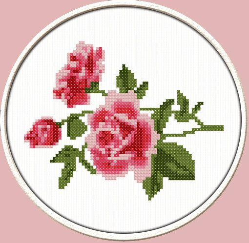 Rose Branch  PDF Downloadable Printable Cross by CrossStitchDiver, $3.50