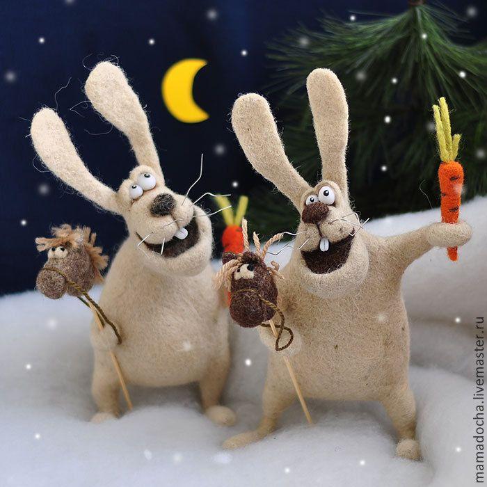 Всегда на коне! - бежевый,зайцы,зайки,валяный заяц,кролик,новогодний подарок