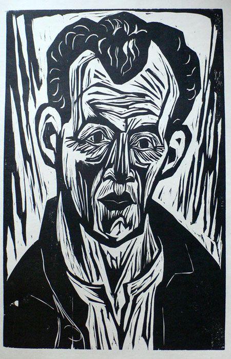 """Portrait (Self-Portrait?)"" woodcut by August Hermann Scherer. Tags: Human, Man, Linocut, Cut, Print, Linoleum, Lino, Carving, Block, Woodcut, Helen Elstone."