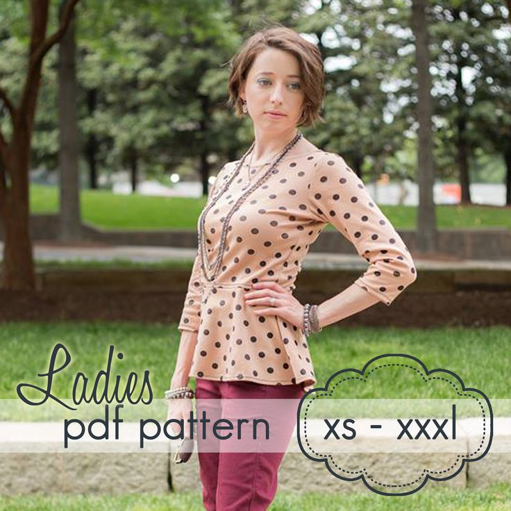 Ladies Peplum Top -XS-XXXL - sewing pattern. Well liked at Skirt Fixation. There is a skirt add on pattern to create a dress.