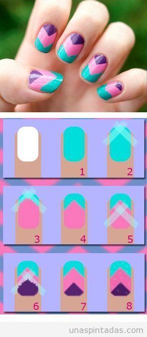 Tutorial decoración uñas zigzag fácil