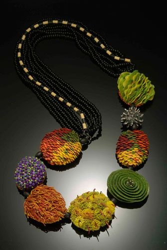 """Kathleen Dustin - polymer clay and patinated sterling silver with glass seed beads. 28"""" long."""