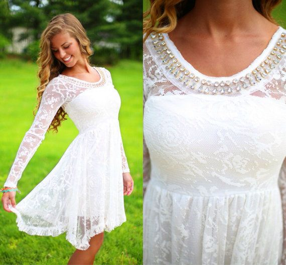 Long sleeve embellished white dress prom formal short for Short country wedding dress