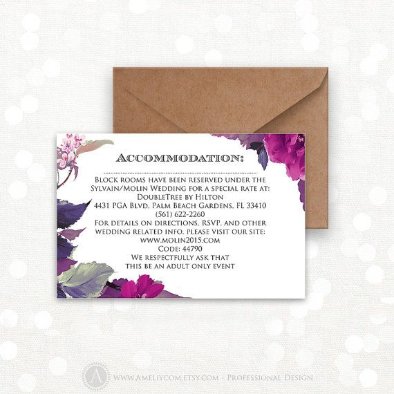 Printable Information Card, Info Card, Direction Cards Purple and lilac flower Wedding Accomodations & directions EDITABLE INSTANT DOWNLOAD