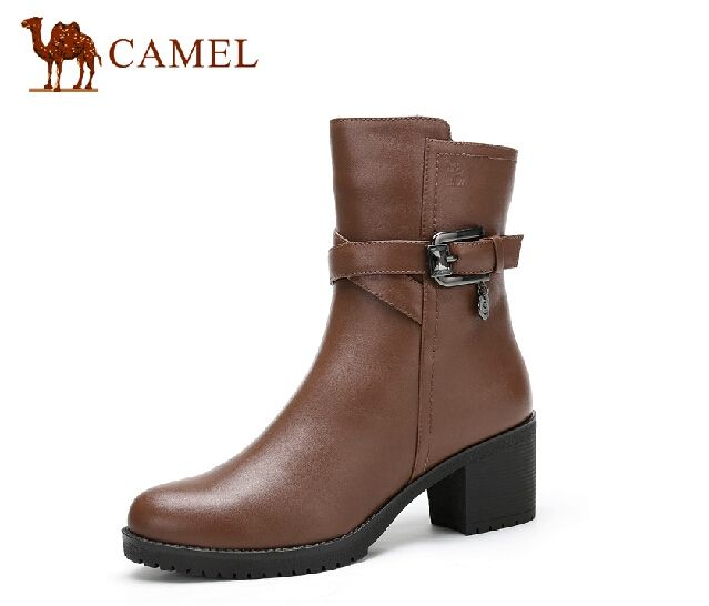 100.00$  Buy here - http://aliwwt.worldwells.pw/go.php?t=32229354342 - Camel camel boots 2014 new winter fashion casual and comfortable leather high-heeled women's boots in the tube 100.00$