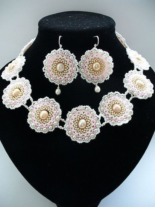 Wedding Jewellery handmade. Livemaster - handmade. Buy Set 'Romantique'.Necklaces, wedding accessories, bed, pearls are natural