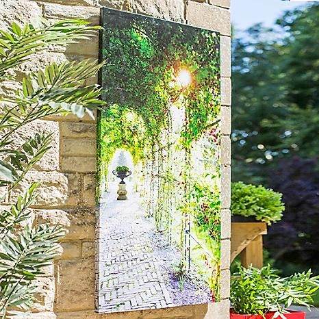 La Hacienda Covered Path Wall Canvas #Kaleidoscope #garden