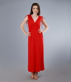 Long jersey dress with overlapped chest