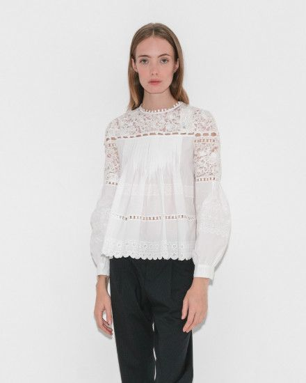 Long Sleeve Button Seam Blouse by Sea NY