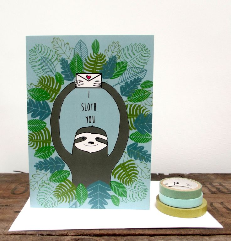 Handmade item Materials: envelope, card, FSC card, recycled, eco friendly card, sloth illustration, sloth drawing, paper, green, grey, forest, leaves Ships worldwide from Bristol, United Kingdom Favorited by: 169 people