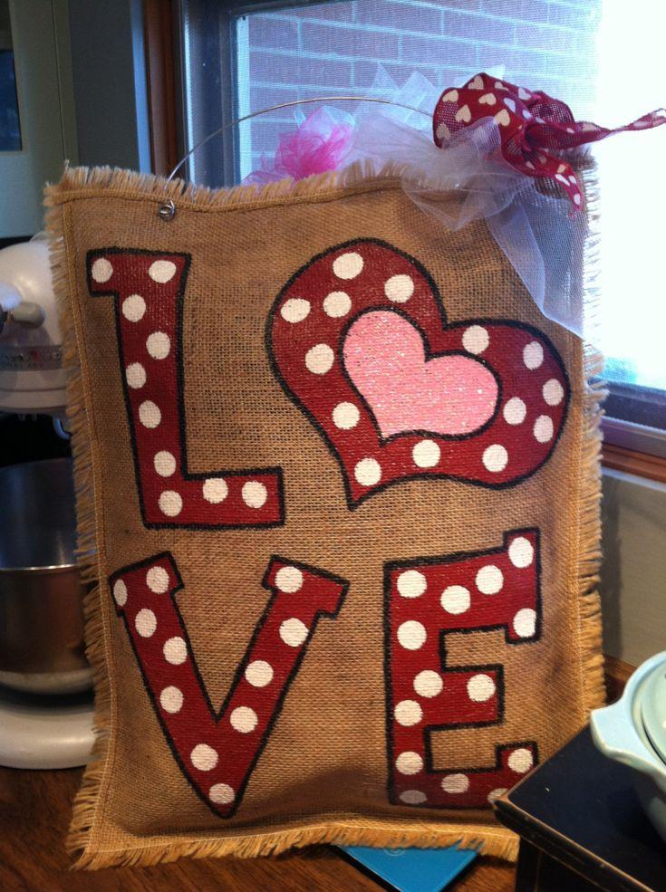 Valentine burlap LOVE rectangle hanger