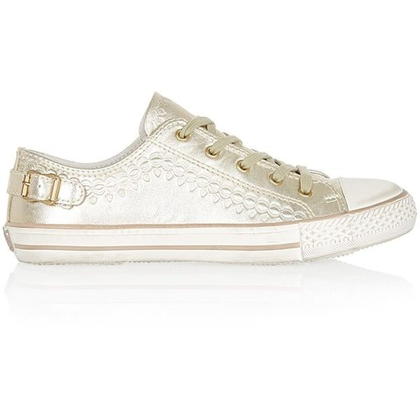 ASH Virgo Gold Trainers found on Polyvore featuring shoes, sneakers, gold, blue shoes, metallic gold sneakers, destroy shoes, yellow gold shoes and patterned shoes