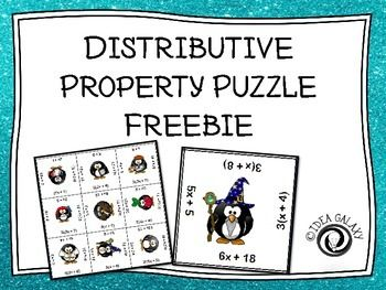 Distributive Property Puzzle FREE is a distributive property puzzle that your students can complete to practice with the distributive property.  There are 12 distributive problems- after printing and cutting apart the cards students will simply have to line them back up in a way that matches the problems with the answers and put the puzzle back together.You might also like:Distributive Property Tic Tac Toe and Maze GameCross Sections of 3D Shapes Tic Tac Toe Linear and Nonlinear Functions…