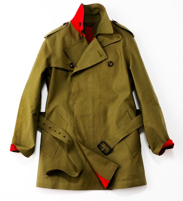 Olive/Brown Trench with Red Lining, by Paul Smith, Men's Fall Winter Fashion.