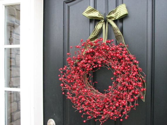 Christmas Berry Wreath Red Berry Wreaths by twoinspireyou on Etsy