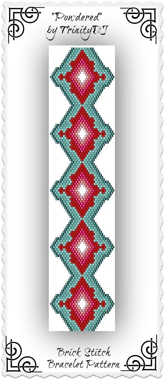 "New listing in my Etsy shop: ""Powdered"" - Shaped Brick Stitch Bracelet Pattern…"