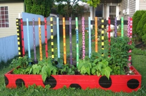 Beautifully colorful vegetable bed for preschoolers garden.
