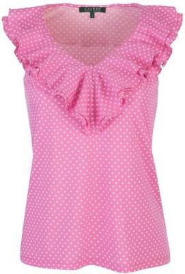 Lauren by Ralph Lauren V-Neck Ruffle Top, Begonia Pink/Pearl... - Polyvore