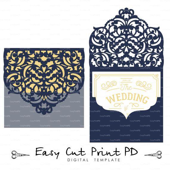 Archivo de la boda plantilla de tarjeta de lujo por EasyCutPrintPD