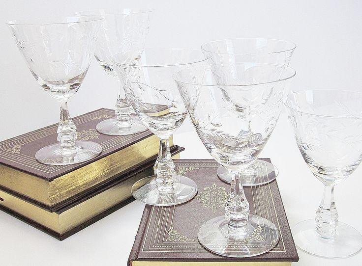 Elegant stemware added to my #etsy shop: Elegant Wine Glasses Cut Lead Crystal Stemware Optic Etched Trailing Vine Pattern Glassware Set Refined Heavy Sturdy Large 8 Fluid Ounces http://etsy.me/2o4OaHJ #elegantglasses #wineglasses #cutleadcrystal #weddinggiftidea