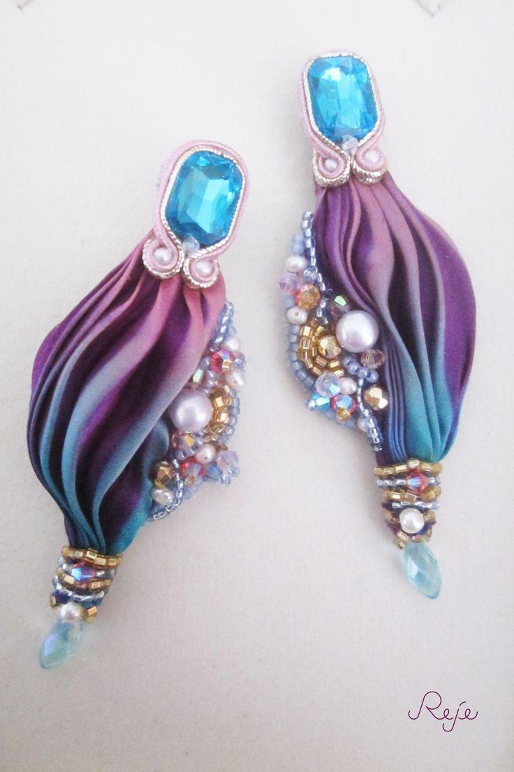 "soutache and shibori earrings ""Calypso"" -Reje-  https://www.facebook.com/rejegioielliinsoutache   www.rejesoutache.com"