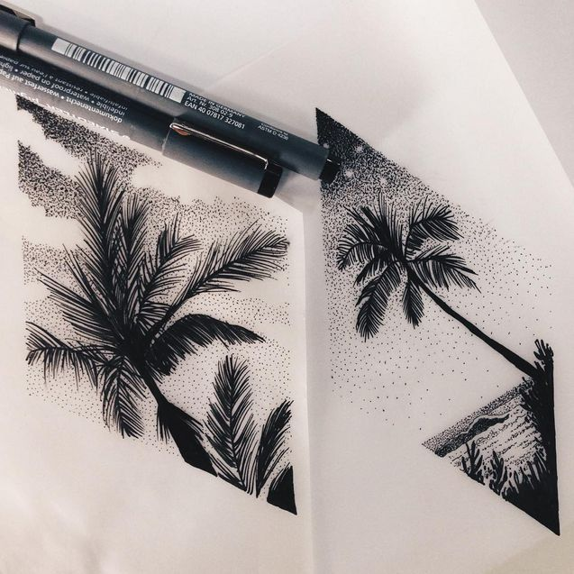 tropical sunset - Tattoo design- dotwork #ad