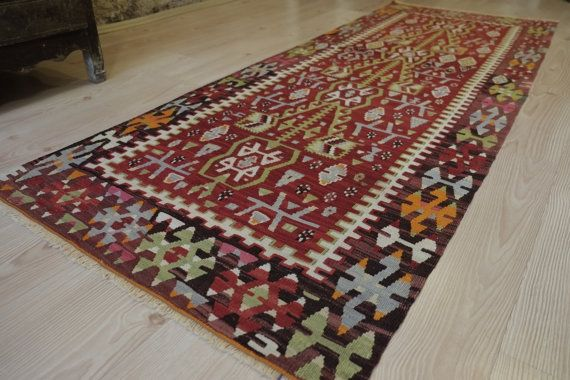 27 x 7 FT   83 x 214 cm ORGANİC WOOL Vintage Handwoven by kilimci