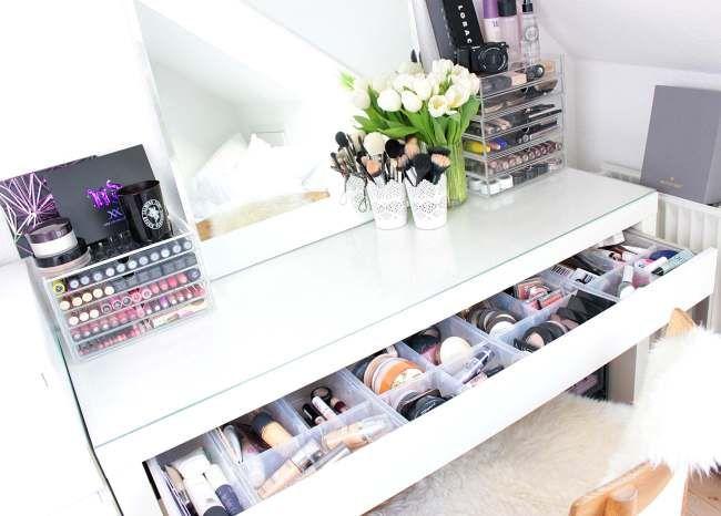 makeupbord samling vanity ikea malm opbevaring muji ide