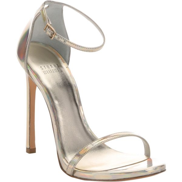 4c08991bcf3 Stuart Weitzman Gold Iridescent Leather  nudist  Stiletto Sandals... (410  CAD) ❤ liked on Polyvore featuring shoes