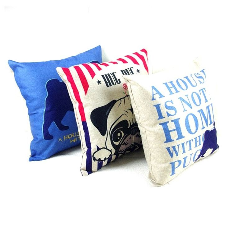 Linen / Cotton Pug Pillow Covers (3 Styles)