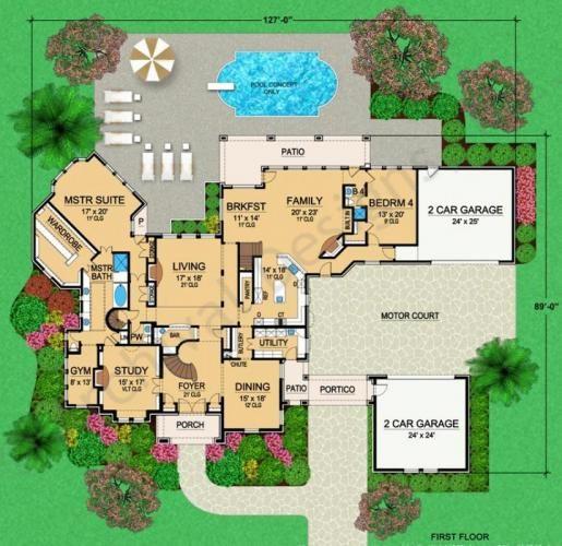 Porte cochere valencio estate house plan courtyard for House plans porte cochere