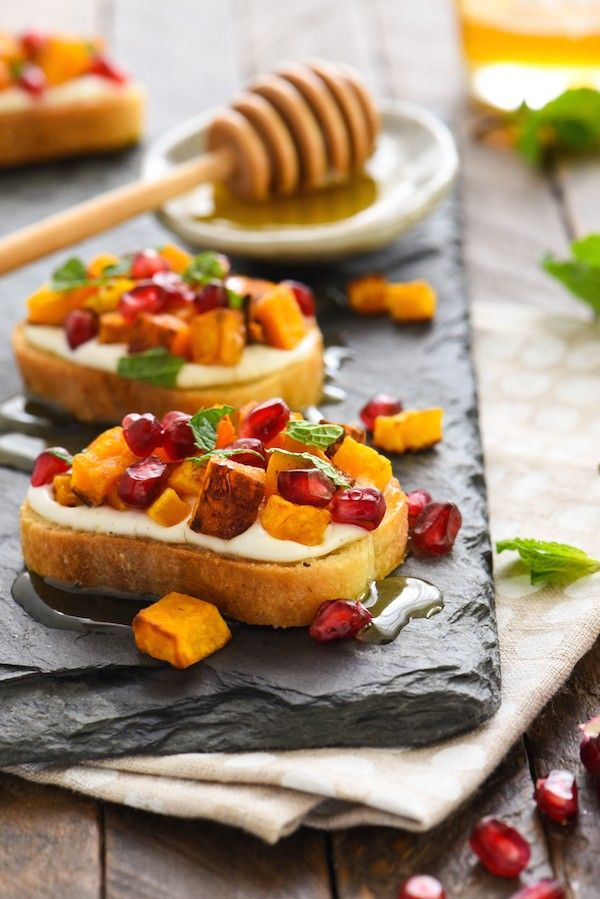 Butternut Squash & Pomegranate Crostini with Whipped Feta and Honey ...