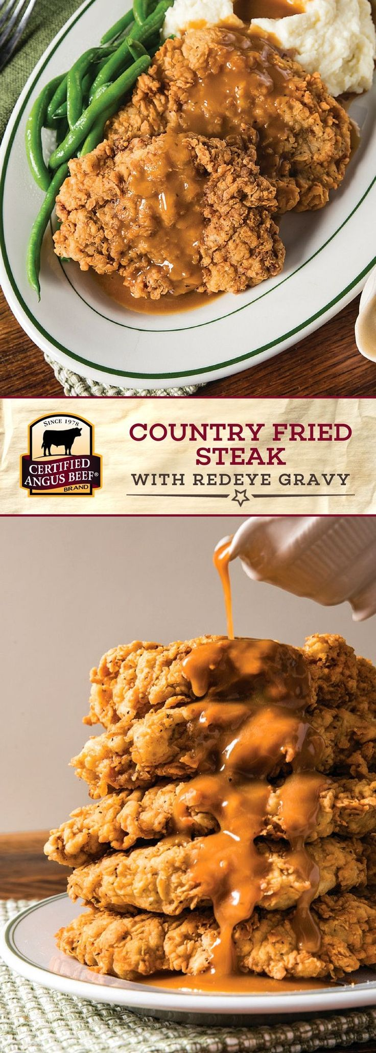 It's easy to make delicious Country Fried Steak with Redeye Gravy at home! Start with Certified Angus Beef®️ brand cubed steaks, MARINATED overnight in buttermilk, eggs, and light seasoning. Then, dredge in flour, the mixture, and then flour again, to ensure that they are completely coated and come out extra CRISPY when you pan fry them! Delicious Redeye Gravy made with COFFEE and HOT SAUCE tops off the steaks. #bestangusbeef #certifiedangusbeef #beefrecipe #comfortfood #steakrecipe