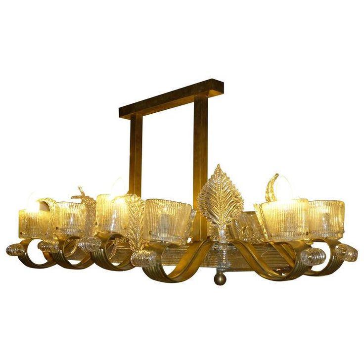 Murano Glass Rectangular Shape Chandelier / 12 arms glass chandelier / brass stem / lampadario di murano a 12 luci / lampadario rettangolare di Sanmarcoartedesign su Etsy