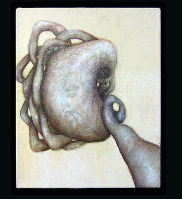 "#46    Artist: Janet Csontos   Title: ""Series of five"" 4/5   Medium: Acrylic on canvas   Dimensions: 14 x 12"""