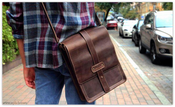 Crossbody Satchel Bag for Men - French Roast Dark Brown Genuine Leather - Vertical Messenger Bag  - Computer Case Laptop Tablet A4 Size Bag by OplichLeatherGoods on Etsy