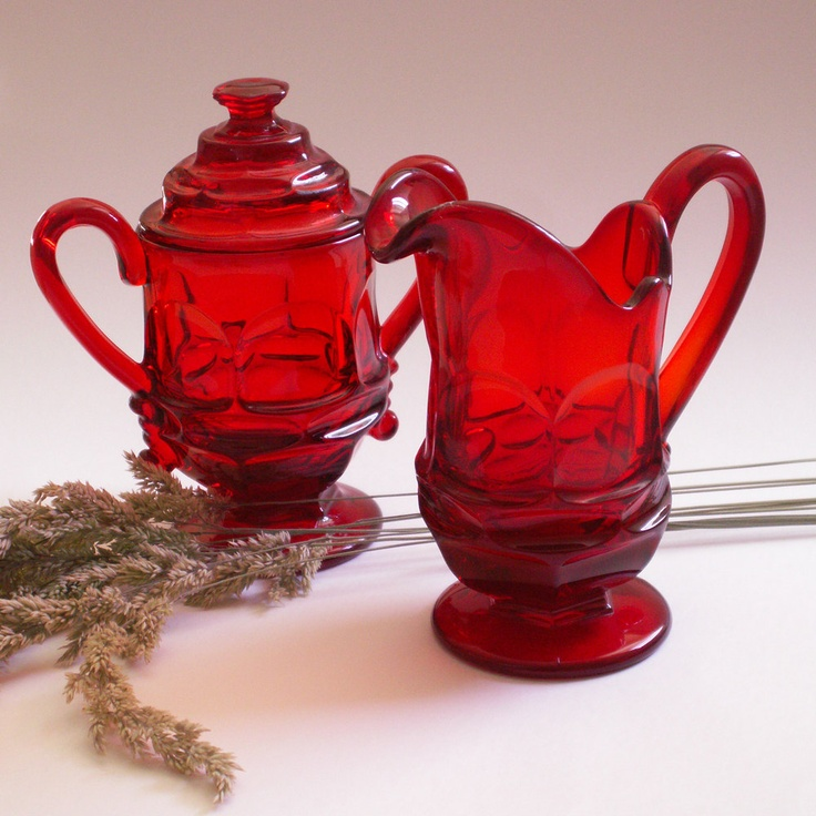 Vintage Authentic Fostoria Glassware Ruby Red Sugar and Creamer Set - Argus Pattern (1960's). I have a lot of this from my my Mom!