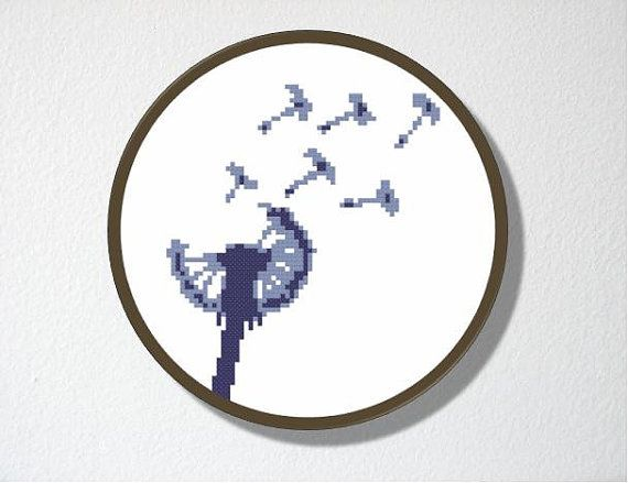 Dandelion Counted Cross stitch Pattern PDF. by CharlotteAlexander