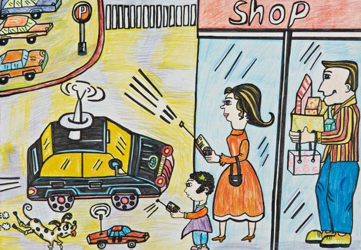 'Helper Car' by Jiawen Zhang, Aged 6, China: 2nd Contest, Silver #KidsArt #ToyotaDreamCar