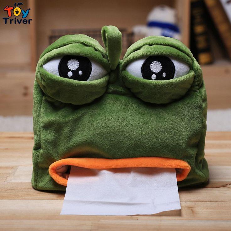 $11.99!Triver Toy quality Kawaii Cartoon Green Sad Frog Plush Animal Shaped Tissue Box Case Napkin Paper Holder free shipping