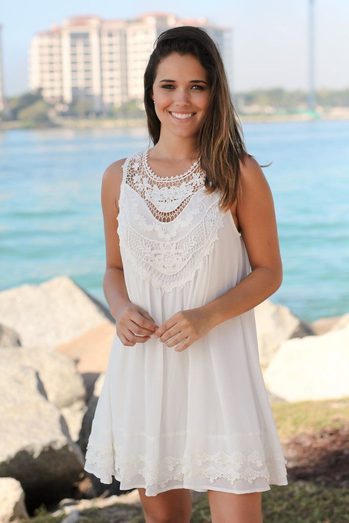 Off White Chiffon Crochet Short Dress